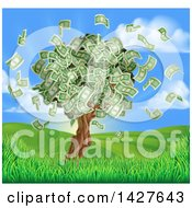 Clipart Of A Money Tree With Cash Falling Off In A Hilly Landscape With A Sunrise Royalty Free Vector Illustration by AtStockIllustration