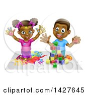 Clipart Of A Cartoon Happy Black Girl And Boy Kneeling And Finger Painting And Playing With Blocks Royalty Free Vector Illustration