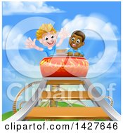 Happy White And Black Boys At The Top Of A Roller Coaster Ride Against A Blue Sky With Clouds