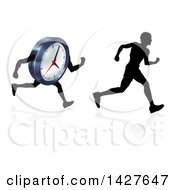 Clipart Of A Silhouetted Man Racing A Clock Character With A Reflection Royalty Free Vector Illustration