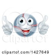 Clipart Of A Cartoon Happy Baseball Mascot Giving Two Thumbs Up Royalty Free Vector Illustration