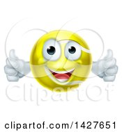 Clipart Of A Cartoon Happy Tennis Ball Mascot Giving Two Thumbs Up Royalty Free Vector Illustration