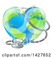 Clipart Of A 3d Medical Stethoscope Around A Heart Earth Globe Royalty Free Vector Illustration