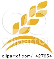 Clipart Of A Golden Wheat Grain And Arches Design Royalty Free Vector Illustration by AtStockIllustration