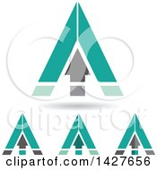 Triangular Turquoise Arrow Letter A Logos Or Icon Designs With Shadows