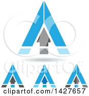 Clipart Of Triangular Blue Arrow Letter A Logos Or Icon Designs With Shadows Royalty Free Vector Illustration