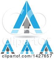 Triangular Blue Arrow Letter A Logos Or Icon Designs With Shadows