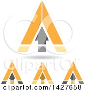 Triangular Orange Arrow Letter A Logos Or Icon Designs With Shadows