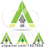 Clipart Of Triangular Green Arrow Letter A Logos Or Icon Designs With Shadows Royalty Free Vector Illustration