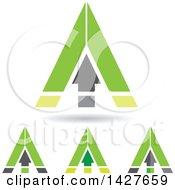 Triangular Green Arrow Letter A Logos Or Icon Designs With Shadows