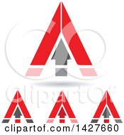 Triangular Red Arrow Letter A Logos Or Icon Designs With Shadows
