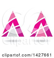 Triangular Pyramidical Pink Arrow Letter A Logos Or Icon Designs With Stripes And Shadows