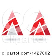 Clipart Of Triangular Pyramidical Red Arrow Letter A Logos Or Icon Designs With Stripes And Shadows Royalty Free Vector Illustration