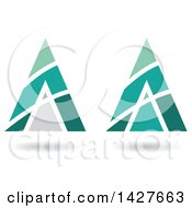 Clipart Of Triangular Pyramidical Green And Turquoise Arrow Letter A Logos Or Icon Designs With Stripes And Shadows Royalty Free Vector Illustration