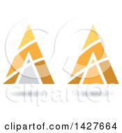 Clipart Of Triangular Pyramidical Orange And Yellow Arrow Letter A Logos Or Icon Designs With Stripes And Shadows Royalty Free Vector Illustration