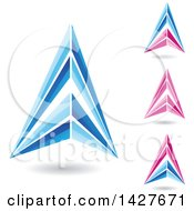 Triangular Letter A Logos Or Icon Designs With Shadows