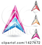 Clipart Of Triangular Letter A Logos Or Icon Designs With Shadows Royalty Free Vector Illustration