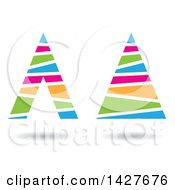 Clipart Of Striped Triangular Letter A Logos Or Icon Designs With Shadows Royalty Free Vector Illustration