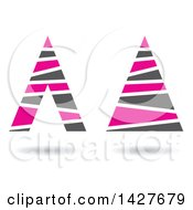 Striped Triangular Letter A Logos Or Icon Designs With Shadows