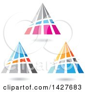 Clipart Of Triangular Or Pyramidical Letter A Logos Or Icon Designs With Shadows Royalty Free Vector Illustration