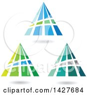Triangular Or Pyramidical Letter A Logos Or Icon Designs With Shadows