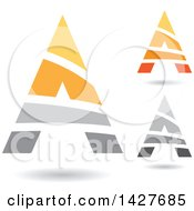 Triangular Striped Letter A Logos Or Icon Designs With Shadows
