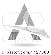 Triangular Gray Letter A Logo Or Icon Design With A Swoosh And Shadow