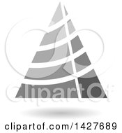Clipart Of A Striped Grayscale Triangular Letter A Logo Or Icon Design With A Shadow Royalty Free Vector Illustration