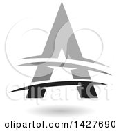 Triangular Gray And Black Letter A Logo Or Icon Design With Lines And A Shadow