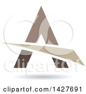 Triangular Brown Black And Tan Letter A Logo Or Icon Design With A Swoosh And Shadow