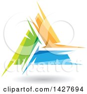 Clipart Of A Triangular Abstract Artistic Green Orange And Blue Letter A Logo Or Icon Design With A Shadow Royalty Free Vector Illustration by cidepix