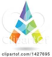 Clipart Of A Triangular Colorful Letter A Logo Or Icon Design With A Shadow Royalty Free Vector Illustration