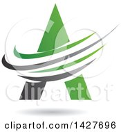 Clipart Of A Triangular Green Letter A Logo Or Icon Design With Swooshes And A Shadow Royalty Free Vector Illustration