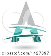 Clipart Of A Triangular Gray Turquoise And Green Letter A Logo Or Icon Design With Lines And A Shadow Royalty Free Vector Illustration