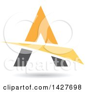 Triangular Orange Yellow And Gray Letter A Logo Or Icon Design With A Swoosh And Shadow