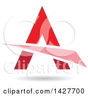 Triangular Red Letter A Logo Or Icon Design With A Swoosh And Shadow
