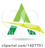 Clipart Of A Triangular Green Letter A Logo Or Icon Design With A Swoosh And Shadow Royalty Free Vector Illustration
