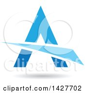 Triangular Blue Letter A Logo Or Icon Design With A Swoosh And Shadow