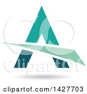 Triangular Green And Turquoise Letter A Logo Or Icon Design With A Swoosh And Shadow