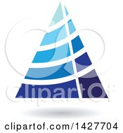 Blue Striped Triangular Letter A Logo Or Icon Design With A Shadow