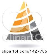 Striped Orange Triangular Letter A Logo Or Icon Design With A Shadow