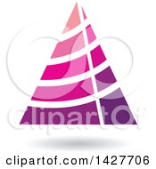 Striped Purple And Pink Triangular Letter A Logo Or Icon Design With A Shadow