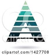 Striped Green Pyramidical Triangular Letter A Logo Or Icon Design With A Shadow