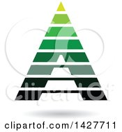 Clipart Of A Striped Green Pyramidical Triangular Letter A Logo Or Icon Design With A Shadow Royalty Free Vector Illustration