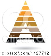 Clipart Of A Striped Orange And Brown Pyramidical Triangular Letter A Logo Or Icon Design With A Shadow Royalty Free Vector Illustration