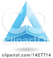 Clipart Of A 3d Pyramidical Triangular Blue Letter A Logo Or Icon Design With A Shadow Royalty Free Vector Illustration