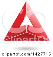 Clipart Of A 3d Pyramidical Triangular Red Letter A Logo Or Icon Design With A Shadow Royalty Free Vector Illustration
