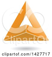 Clipart Of A 3d Pyramidical Triangular Orange Letter A Logo Or Icon Design With A Shadow Royalty Free Vector Illustration