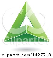 3d Pyramidical Triangular Green Letter A Logo Or Icon Design With A Shadow