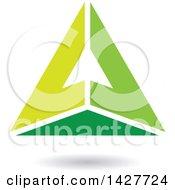 Pyramidical Triangular Green Letter A Logo Or Icon Design With A Shadow